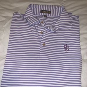 Peter Millar lavender and white striped polo